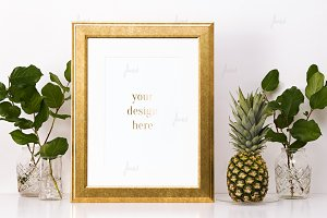 Gold frame with flowers pineapple