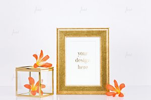 Gold styled photo-based frame mockup