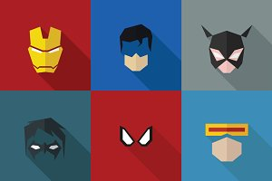 SuperHeroes Masks Flat (Set 03)
