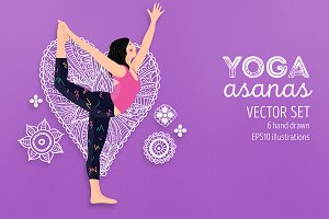 Yoga Poses Vector Illustrations