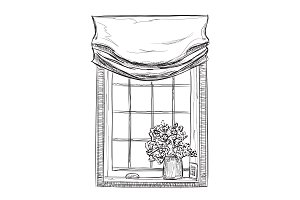 Window Sketch with Flowers