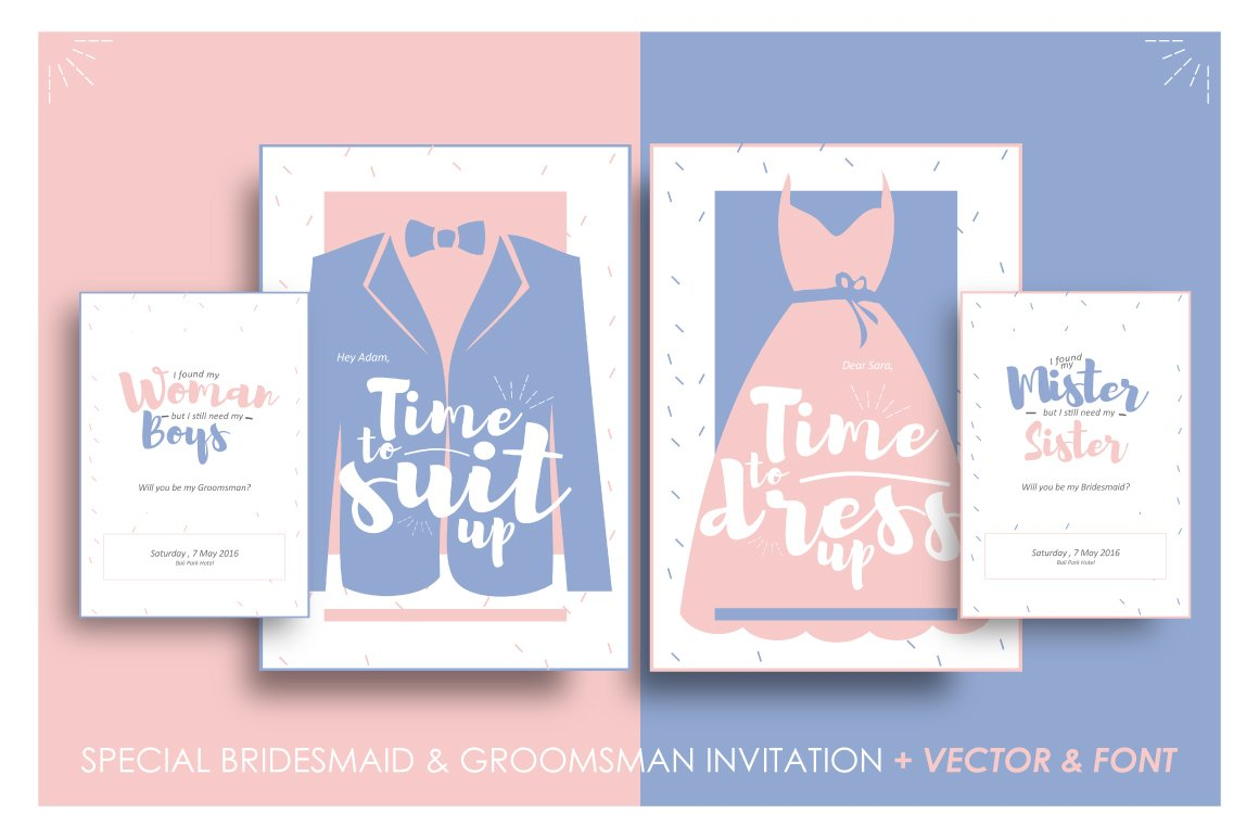Bridesmaid groomsman invites invitation templates creative market stopboris Choice Image