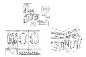 Wardrobe with Clothes Sketch