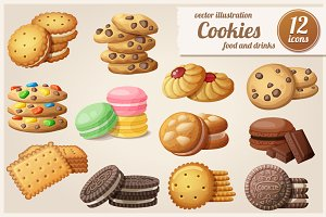 Cookies: Cartoon vector food icons