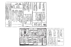 Wardrobe Sketch with Clothes