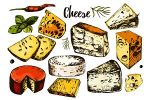 Collection of hand drawing cheeses