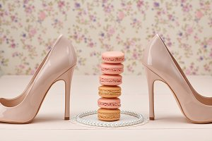 Woman essentials,high heels,macarons