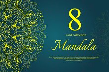Set of 8 cards with Mandalas,Vector