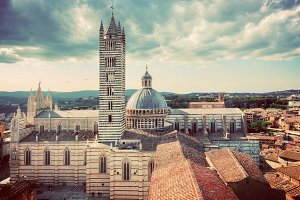 Siena - city view in vintage.