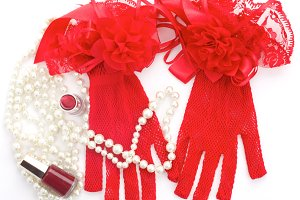 Red gloves and other accessories