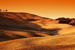 Tuscany landscape at sunset.