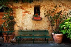 Bench outside old Italian house.