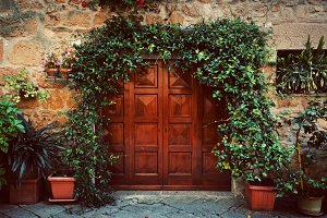 Retro wooden door in italian house.
