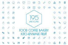 195 Line Icons,Food and Kitchen