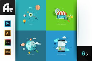 Set Of 4 Concepts For Web Design