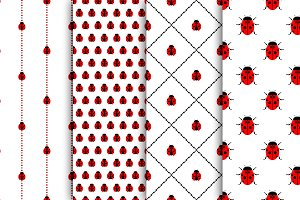 Seamless patterns with ladybugs