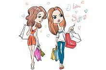 Girls with shopping