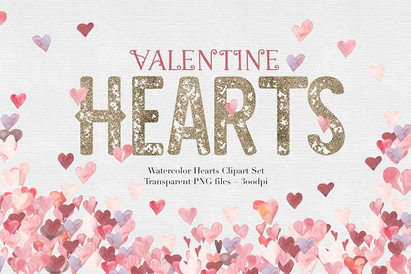 Watercolor Valentine Hearts
