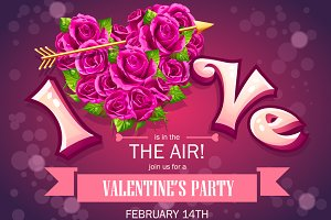Valentines Day - set invitation card