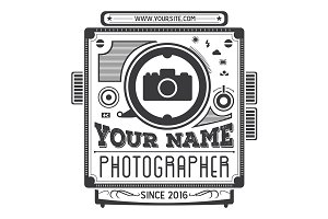 Retro vintage logotype of old camera