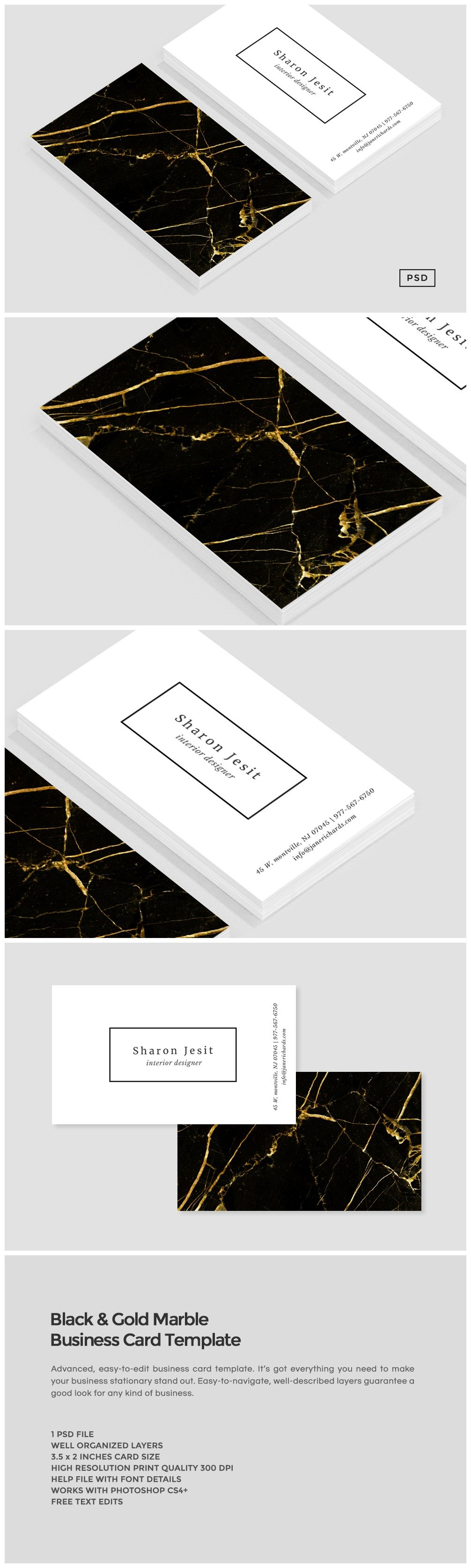 Black & Gold Marble Business Card ~ Business Card Templates ...