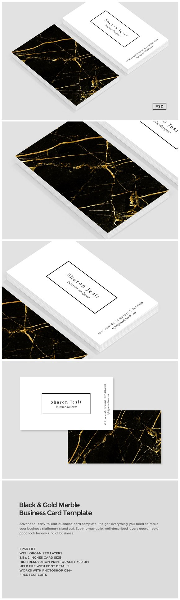 Black gold marble business card business card templates black gold marble business card business card templates creative market cheaphphosting Choice Image