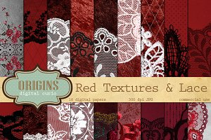 Red and Black Lace Digital Paper