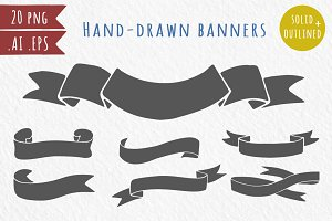 20 hand-drawn ribbons, banners