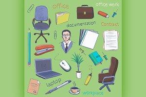 Concept of creative office room