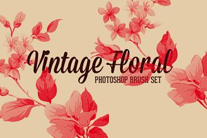 Vintage Floral Photoshop Brush Set