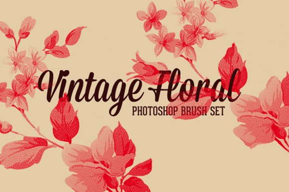 vintage floral photoshop brush set brushes