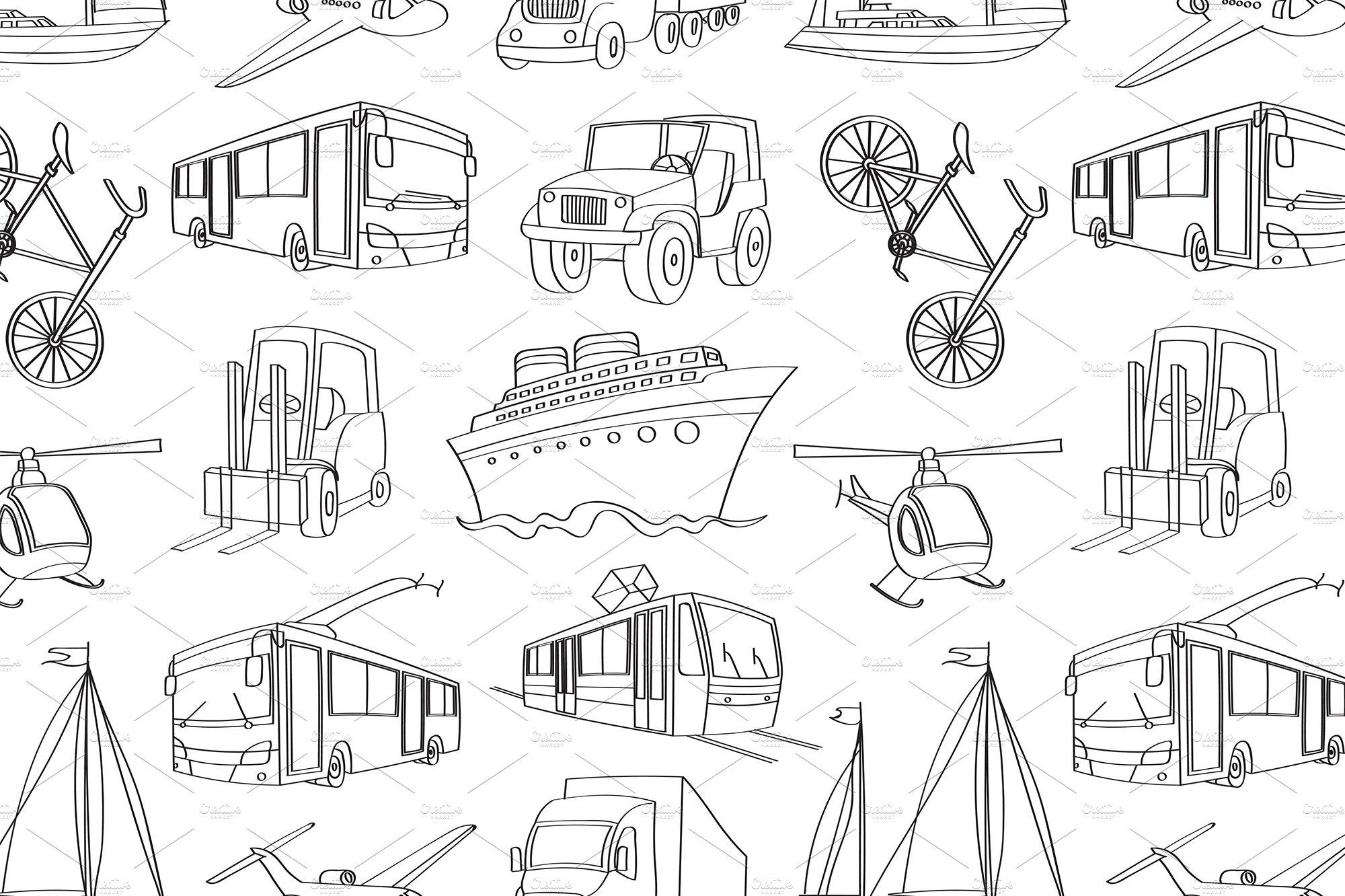 doodle patern transport ~ Graphic Patterns ~ Creative Market