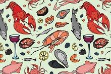 Doodle pattern sea food