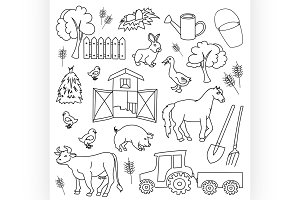 Doodle vector farm