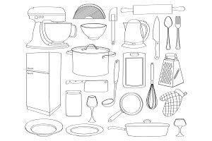 Doodle vector kitchen