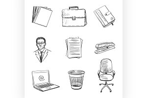 Hand-drawn Office equipment icons.
