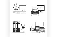 Icons set with Office equipment.