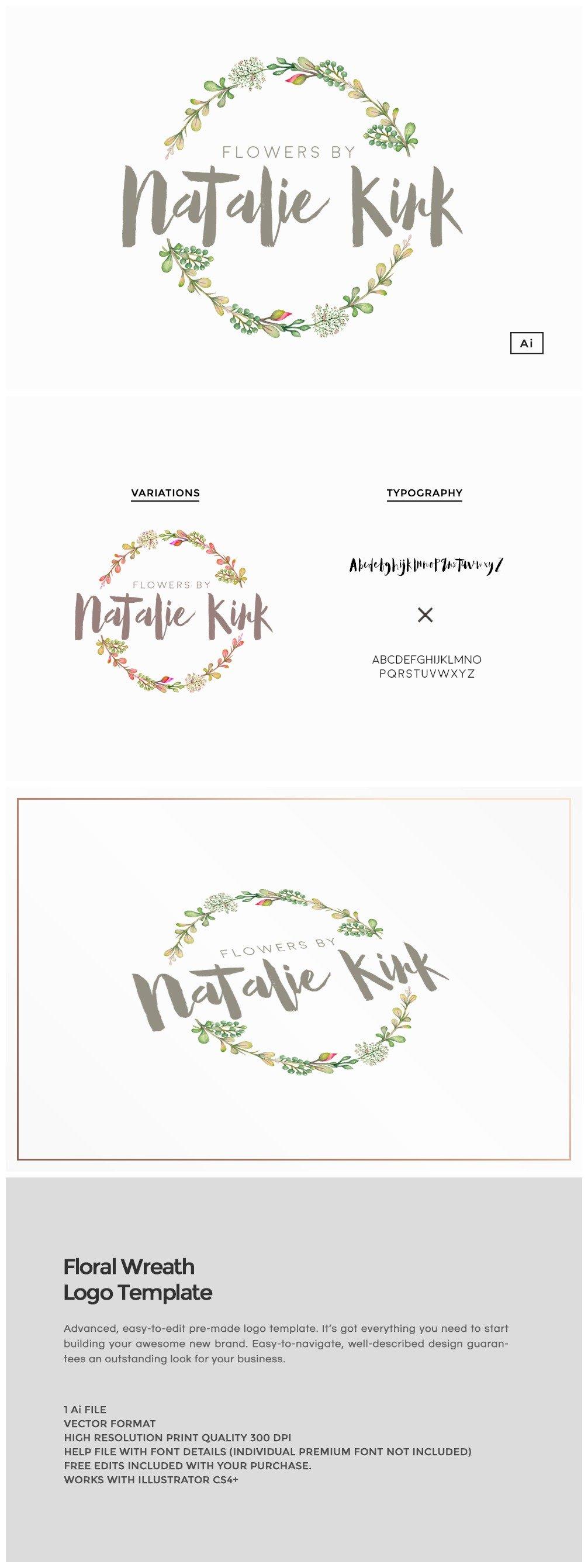 Floral Wreath Logo Template ~ Logo Templates ~ Creative Market