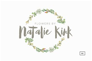 Floral Wreath Logo Template