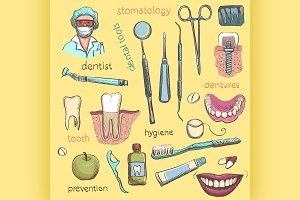 Set. Dentist and Tooth Care Icons
