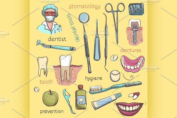 Set. Dentist and Tooth Care Icons - Illustrations