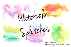 Watercolor splotches clipart set.