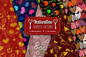 24 Valentine Seamless Patterns
