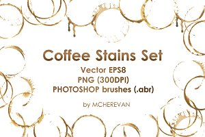 Coffee stains clipart and brush set
