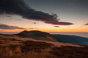 Beautiful morning mountain sunrise