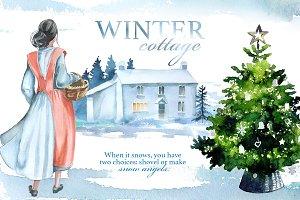 Watercolor Winter Cottage Clipart