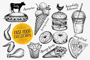 Fast food doodle elements
