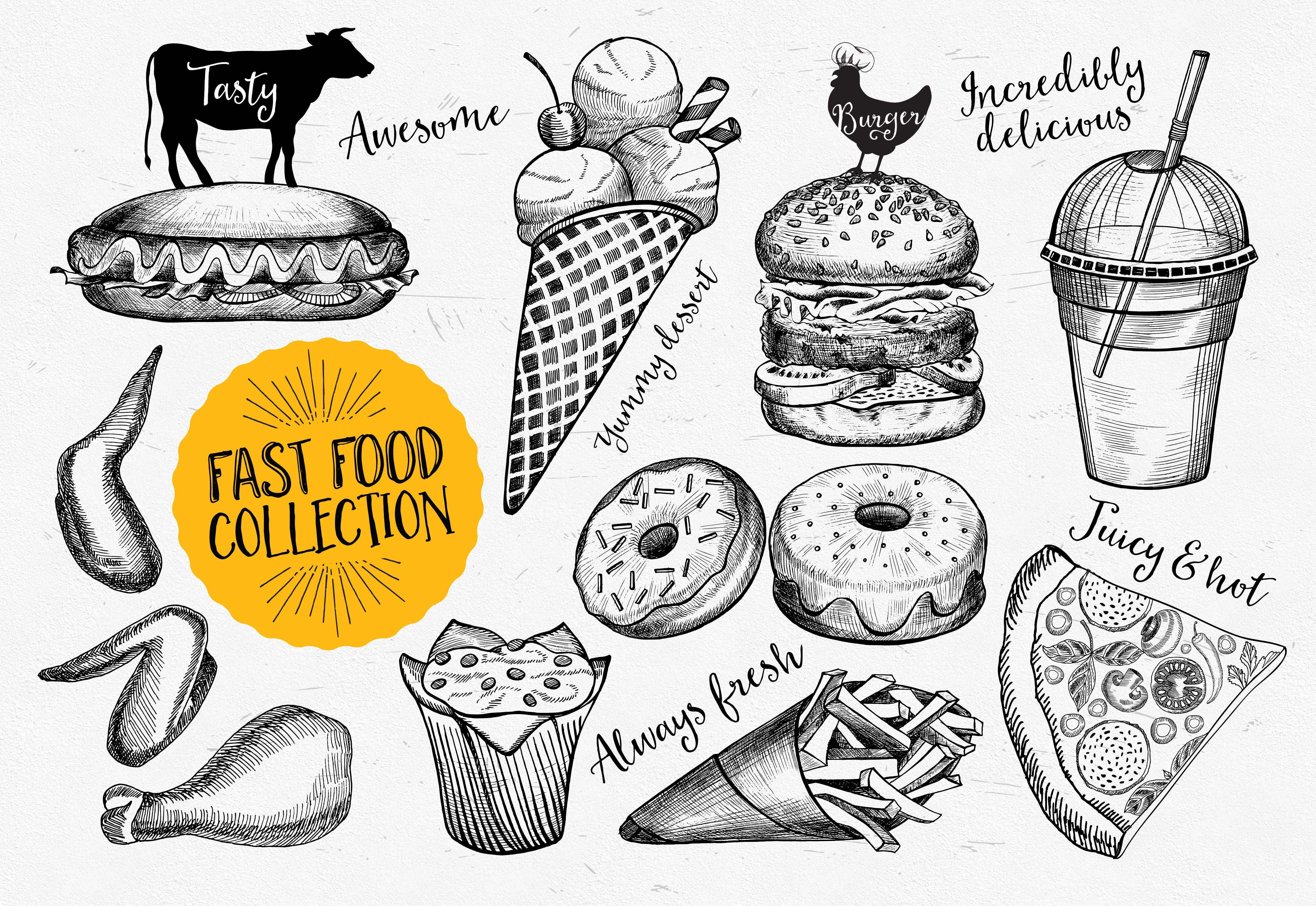 Fast food doodle elements ~ Icons ~ Creative Market