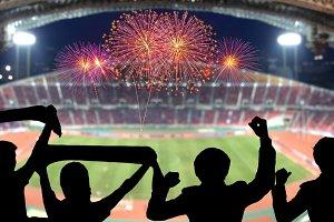stadium with firework