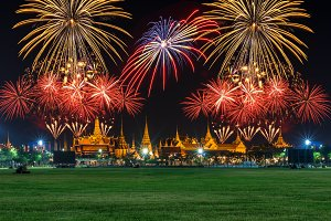 Grand palace with Fireworks